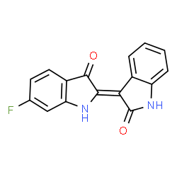 ChemSpider 2D Image | (3Z)-3-(6-Fluoro-3-oxo-1,3-dihydro-2H-indol-2-ylidene)-1,3-dihydro-2H-indol-2-one | C16H9FN2O2