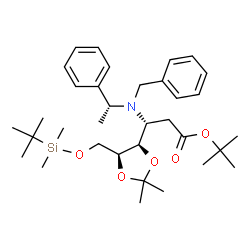 ChemSpider 2D Image | 2-Methyl-2-propanyl 3-{benzyl[(1R)-1-phenylethyl]amino}-2,3-dideoxy-6-O-[dimethyl(2-methyl-2-propanyl)silyl]-4,5-O-isopropylidene-L-ribo-hexonate | C34H53NO5Si