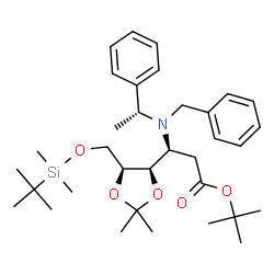 ChemSpider 2D Image | 2-Methyl-2-propanyl 3-{benzyl[(1R)-1-phenylethyl]amino}-2,3-dideoxy-6-O-[dimethyl(2-methyl-2-propanyl)silyl]-4,5-O-isopropylidene-L-arabino-hexonate | C34H53NO5Si