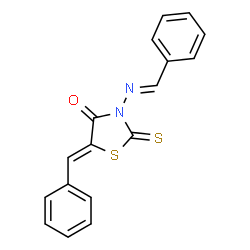 ChemSpider 2D Image | (5Z)-5-Benzylidene-3-[(E)-benzylideneamino]-2-thioxo-1,3-thiazolidin-4-one | C17H12N2OS2