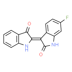ChemSpider 2D Image | (3Z)-6-Fluoro-3-(3-oxo-1,3-dihydro-2H-indol-2-ylidene)-1,3-dihydro-2H-indol-2-one | C16H9FN2O2