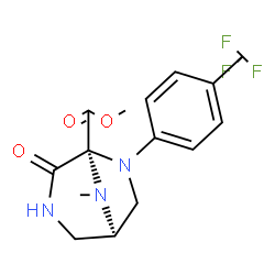 ChemSpider 2D Image | Methyl (1R,5S)-8-methyl-4-oxo-6-[4-(trifluoromethyl)phenyl]-3,6,8-triazabicyclo[3.2.1]octane-5-carboxylate | C15H16F3N3O3
