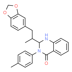 ChemSpider 2D Image | 2-[1-(1,3-Benzodioxol-5-yl)-2-propanyl]-3-(4-methylphenyl)-2,3-dihydro-4(1H)-quinazolinone | C25H24N2O3